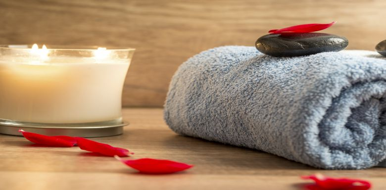 Candle Rose Towel | Serenity Massage + Wellness Spa