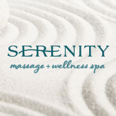 Serenity Sand Logo White | Serenity Massage + Wellness Spa