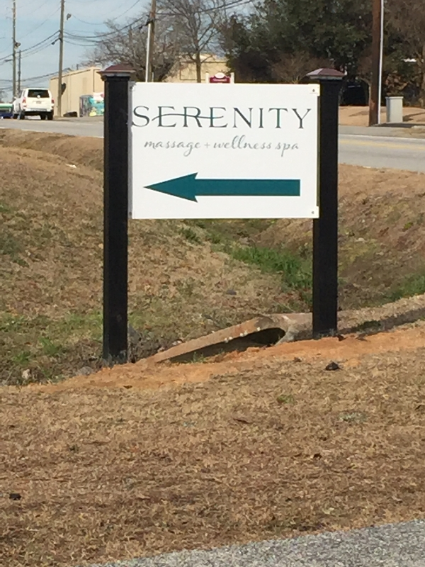 Road Directional Sign | Serenity Massage + Wellness Spa